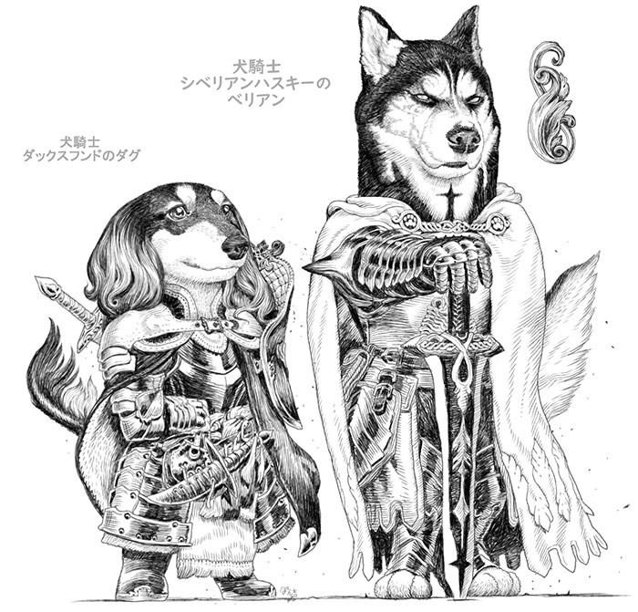 Drawing - 犬騎士 シベリアンハスキーの ベリアン 犬騎士 ダックスフンドのダグ अ