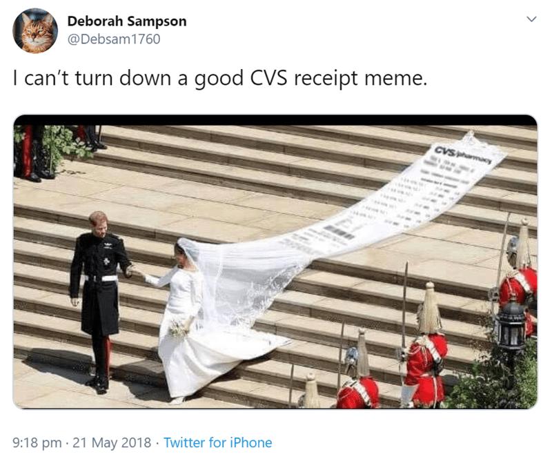 Text - Deborah Sampson @Debsam1760 I can't turn down a good CVS receipt meme. CVSamacy 9:18 pm · 21 May 2018 · Twitter for iPhone