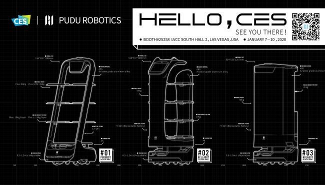 Font - HELLO, CES AI PUDU ROBOTICS CES SEE YOU THERE ! • BOOTH#25258 LVCC SOUTH HALL 2, LAS VEGAS, USA • JANUARY 7-10.2020 #02 #01 PURBOT #03 ILABOT EELLABET