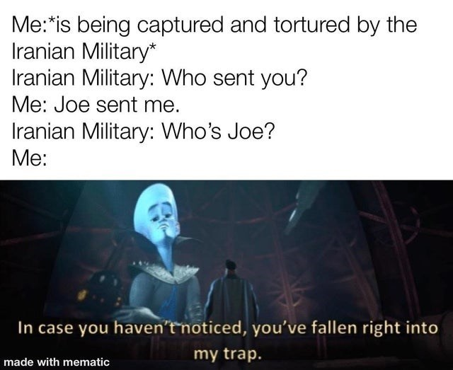 Text - Me:*is being captured and tortured by the Iranian Military* Iranian Military: Who sent you? Me: Joe sent me. Iranian Military: Who's Joe? Me: In case you haven'tnoticed, you've fallen right into my trap. made with mematic