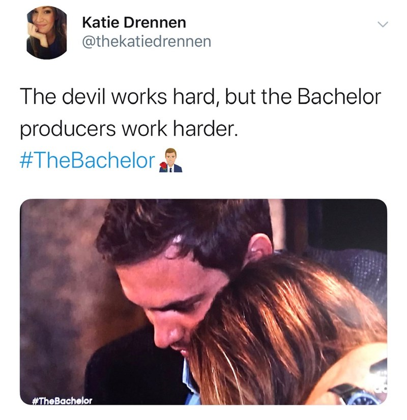 Hair - Katie Drennen @thekatiedrennen The devil works hard, but the Bachelor producers work harder. #TheBachelor #TheBachelor