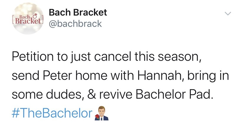 Text - Bach Bracket Bach, Ở [Bracket. @bachbrack Petition to just cancel this season, send Peter home with Hannah, bring in some dudes, & revive Bachelor Pad. #TheBachelor