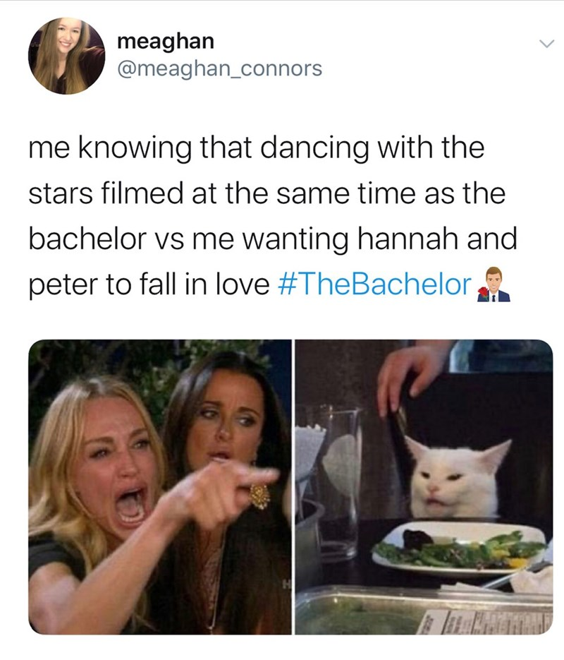 Facial expression - meaghan @meaghan_connors me knowing that dancing with the stars filmedat the same time as the bachelor vs me wanting hannah and peter to fall in love #TheBachelor