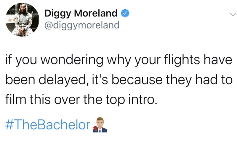 Text - Diggy Moreland O @diggymoreland if you wondering why your flights have been delayed, it's because they had to film this over the top intro. #TheBachelor