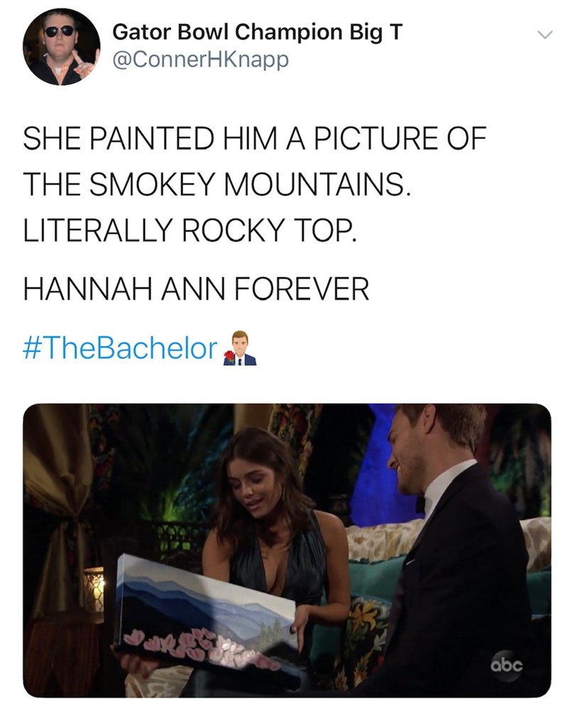 Text - Gator Bowl Champion Big T @ConnerHKnapp SHE PAINTED HIM A PICTURE OF THE SMOKEY MOUNTAINS. LITERALLY ROCKY TOP. HANNAH ANN FOREVER #TheBachelor abc