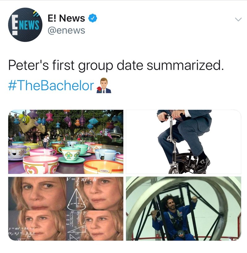 Product - E! News ENEWS @enews Peter's first group date summarized. #TheBachelor V=1 nr y= ax+ bx+e (x,, x) -- Za