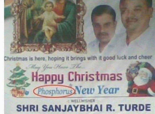 Text - Christmas is here, hoping it brings with it good luck and cheer Many Your Huve T Happy Christmas Phosphorus New Year o WELLWISHER SHRI SANJAYBHAI R. TURDE