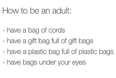 Text - How to be an adult: - have a bag of cords - have a gift bag full of gift bags - have a plastic bag full of plastic bags - have bags under your eyes