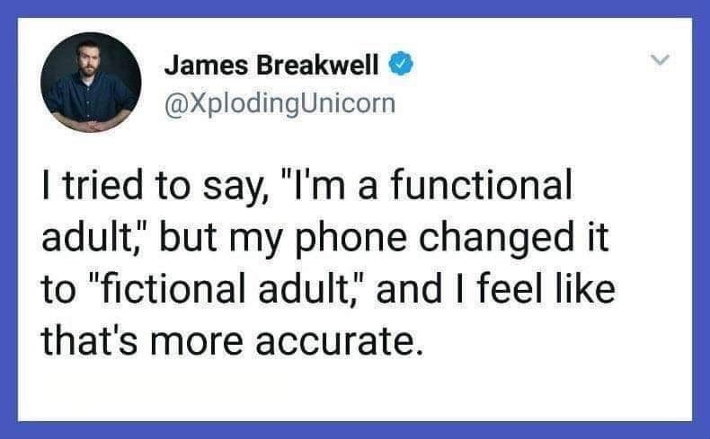 "Text - James Breakwell @XplodingUnicorn I tried to say, ""I'm a functional adult;,"" but my phone changed it to ""fictional adult,"" and I feel like that's more accurate."