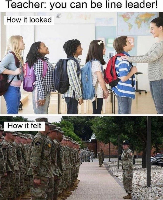 Clothing - Teacher: you can be line leader! How it looked A How it felt