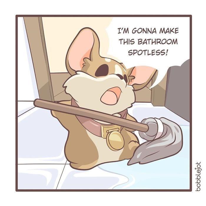 Cartoon - I'M GONNA MAKE THIS BATHROOM SPOTLESS! bobblejot