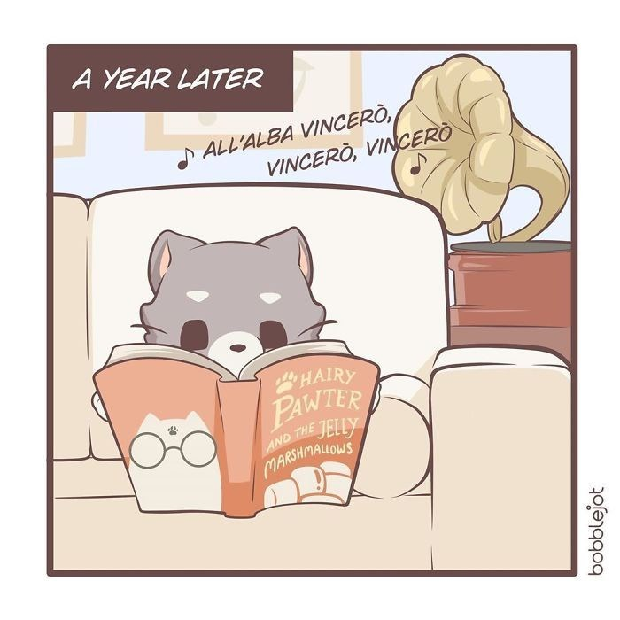 Cartoon - A YEAR LATER S ALL'ALBA VINCERÒ, VINCERÒ, VINCERÒ HAIRY PAWTER JELLY AND THE MARSHMALLOWS bobblejot