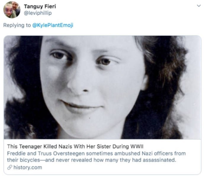 Face - Tanguy Fieri @leviphillip Replying to @KylePlantEmoji This Teenager Killed Nazis With Her Sister During WWII Freddie and Truus Oversteegen sometimes ambushed Nazi officers from their bicycles-and never revealed how many they had assassinated. 8 history.com