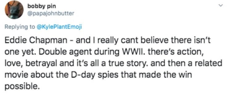 Text - bobby pin @papajohnbutter Replying to @KylePlantEmoji Eddie Chapman - and I really cant believe there isn't one yet. Double agent during WWII. there's action, love, betrayal and it's all a true story. and then a related movie about the D-day spies that made the win possible.