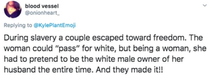 """Text - blood vessel @onionheart_ Replying to @KylePlantEmoji During slavery a couple escaped toward freedom. The woman could """"pass"""" for white, but being a woman, she had to pretend to be the white male owner of her husband the entire time. And they made it!"""