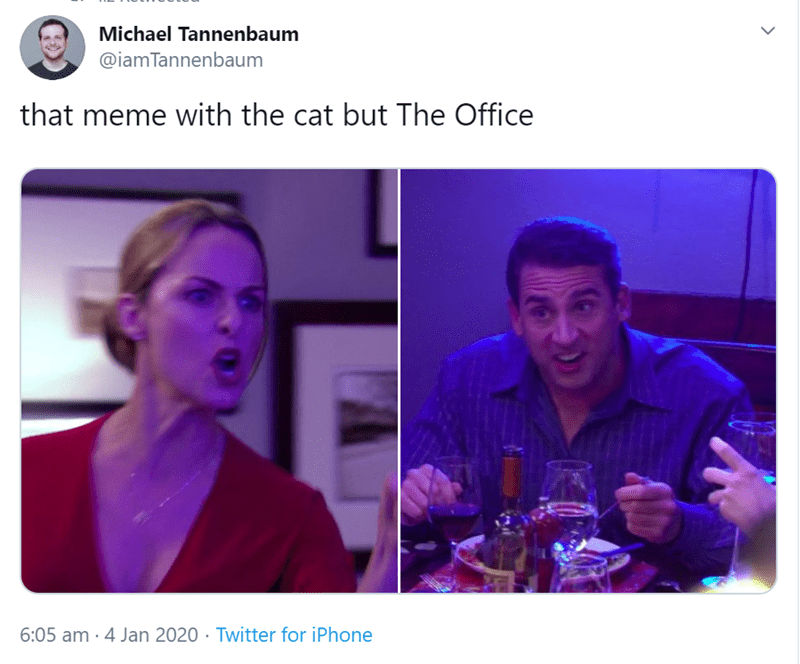 tweet by iamtannenbaum that meme with the cat but the office woman yelling at a cat meme format with michael scott