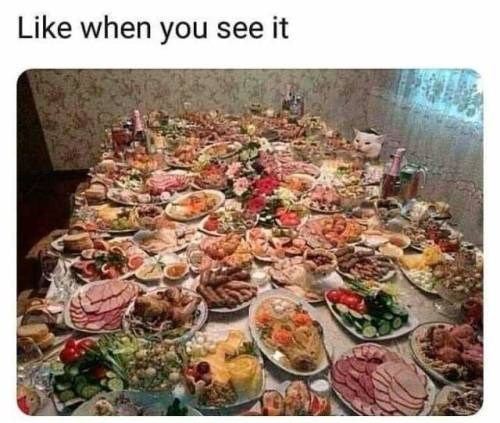 like when you see it: head of a cat peeking above a table loaded with food