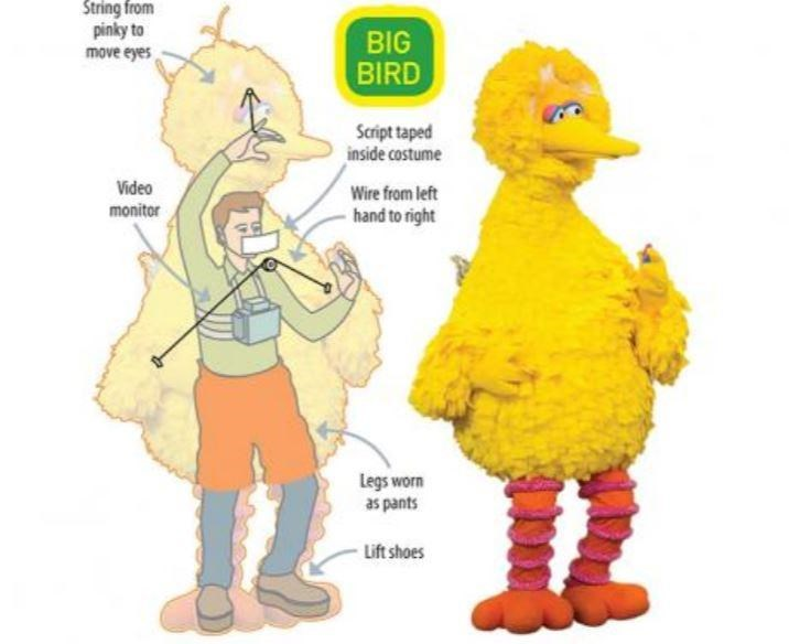 illustration showing how big bird from sesame street is operated. string from pinky to move eyes. video monitor. script taped inside costume. wire from left hand to right. legs worn as pants. lift shoes.