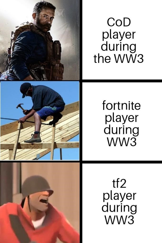 Cartoon - CoD player during the WW3 fortnite player during WW3 tf2 player during WW3