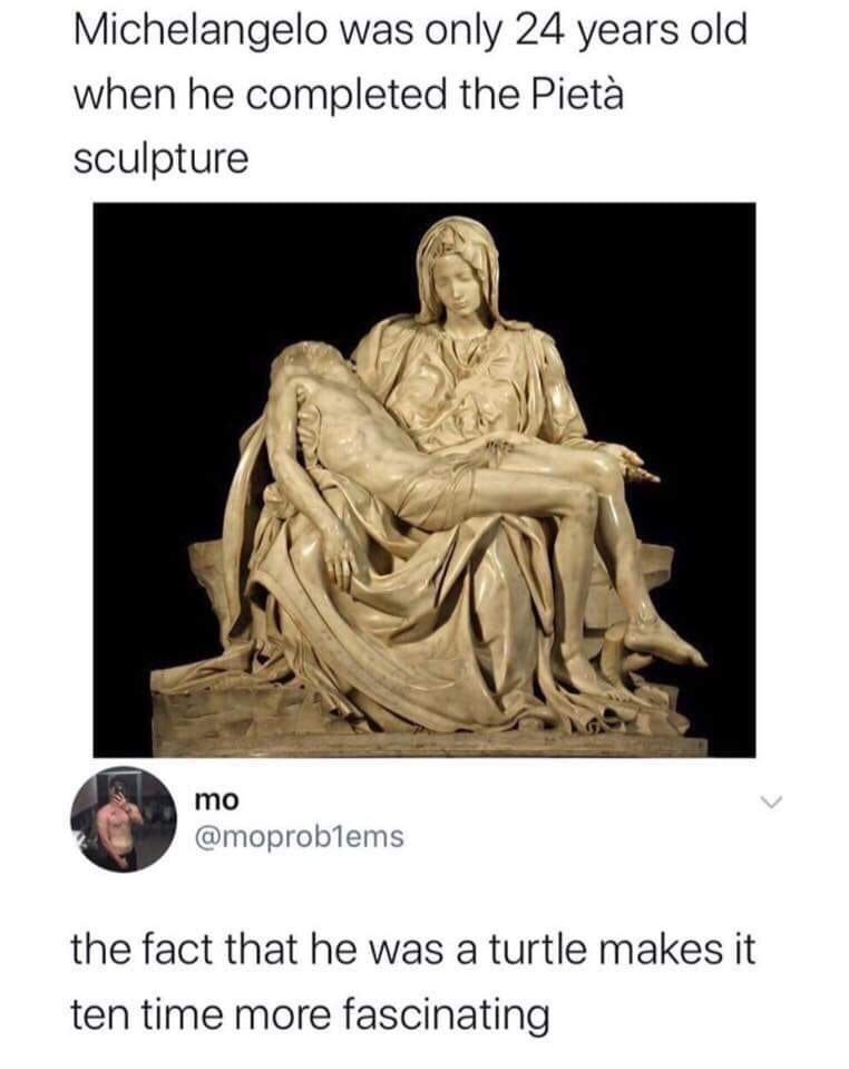 Statue - Michelangelo was only 24 years old when he completed the Pietà sculpture mo @moproblems the fact that he was a turtle makes it ten time more fascinating