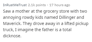 Text - InRustWeTrust 2.1k points · 17 hours ago Saw a mother at the grocery store with two annoying rowdy kids named Dillinger and Maverick. They drove away in a lifted pickup truck, I imagine the father is a total dicknose.