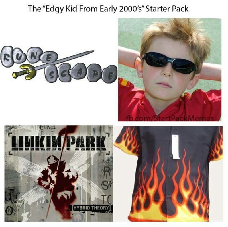 "Eyewear - The ""Edgy Kid From Early 2000's"" Starter Pack fb.com/StartPackMemes ШИКИРАRK TC HEY EANG HYBRID THEORY]"
