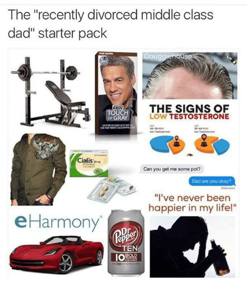 "Product - The ""recently divorced middle class dad"" starter pack Douggiehouse THE SIGNS LOW TESTOSTERONE TÖUCH OF GRAY Teost Cialis Can you get me some pot? Dad are you okay? Delivered ""I've never been happier in my life!"" eHarmony TEN POLD Oు"