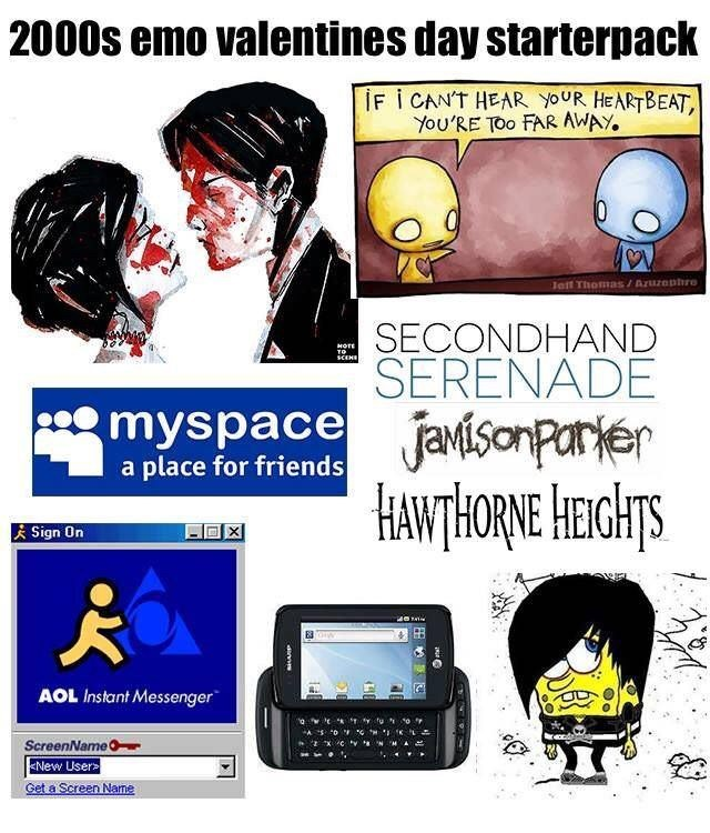 Cartoon - 2000s emo valentines day starterpack İF I CAN'T HEAR YOUR HEARTBEAT, YOU'RE TOO FAR AWAY. Jait Thommas/Azuzophre SECONDHAND SERENADE HOTE SCENE * myspace javisonparier HANTHORNE Heghts a place for friends i Sign On AOL Instant Messenger tu ScreenName ENEW Users Get a Screen Name