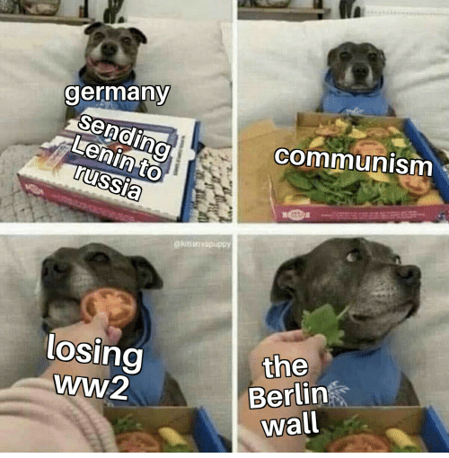 Dog - germany sending Lenin to russia communism @knunvspuppy the losing ww2 Berlin wall