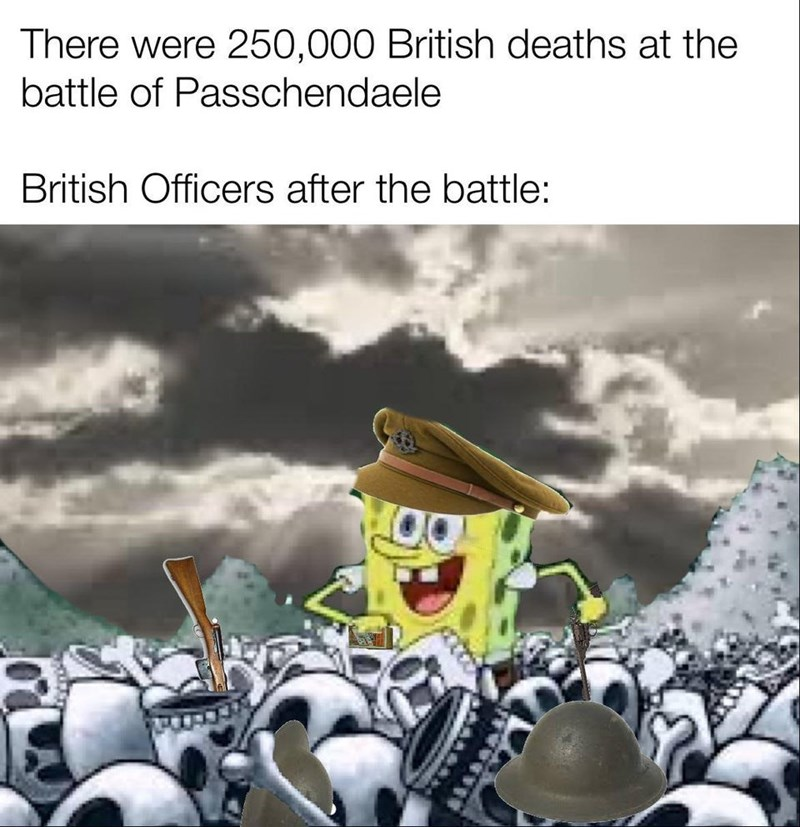 Animated cartoon - There were 250,000 British deaths at the battle of Passchendaele British Officers after the battle: