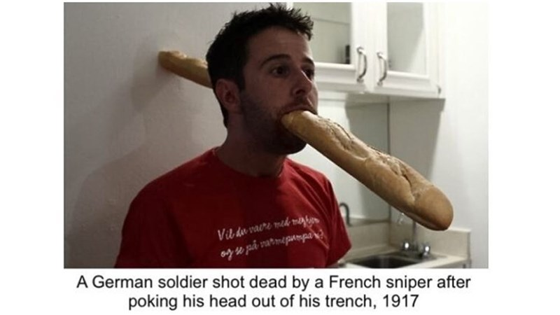 Jaw - Vil du vaere mid meghe oy se på varmepanmpar A German soldier shot dead by a French sniper after poking his head out of his trench, 1917