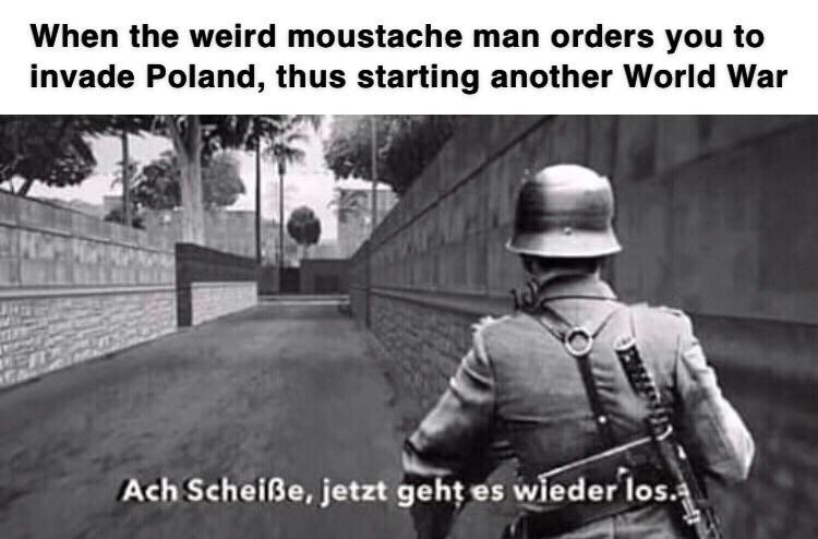 Adaptation - When the weird moustache man orders you to invade Poland, thus starting another World War Ach Scheiße, jetzt gehț es wieder los.