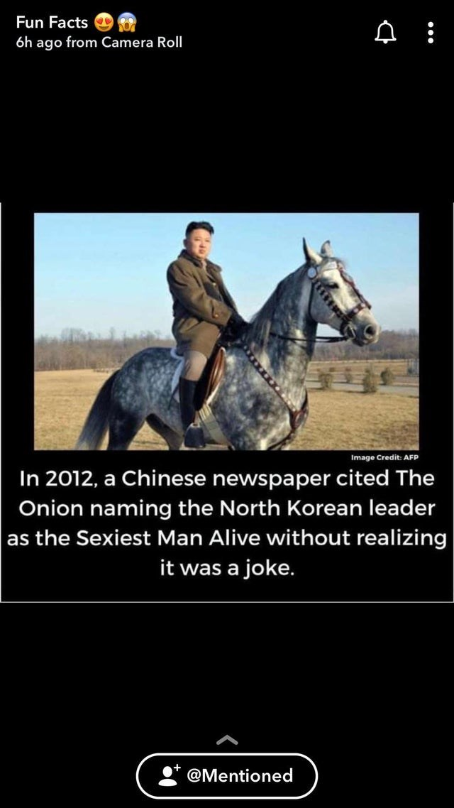 Horse - Fun Facts 6h ago from Camera Roll Image Credit: AFP In 2012, a Chinese newspaper cited The Onion naming the North Korean leader as the Sexiest Man Alive without realizing it was a joke. @Mentioned
