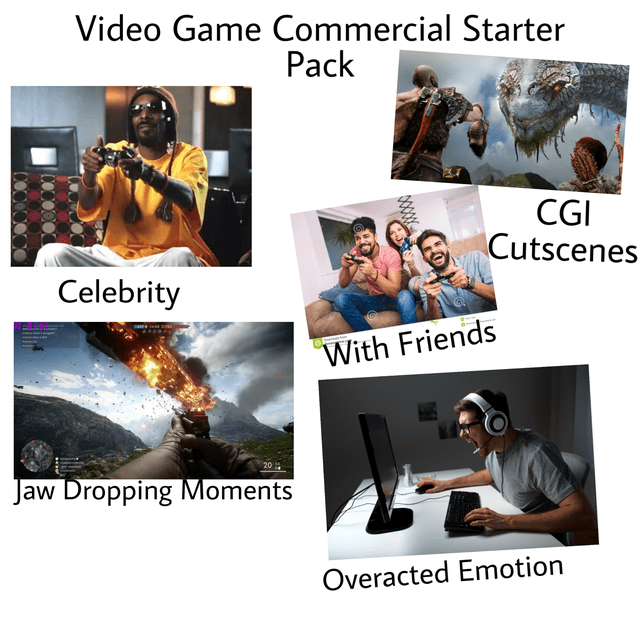Photography - Video Game Commercial Starter Pack CGI Cutscenes Celebrity With Friends 20 Jaw Dropping Moments Overacted Emotion