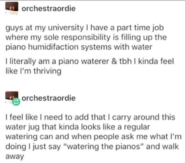 "Text - orchestraordie guys at my university I have a part time job where my sole responsibility is filling up the piano humidifaction systems with water I literally am a piano waterer & tbh I kinda feel like l'm thriving orchestraordie I feel like I need to add that I carry around this water jug that kinda looks like a regular watering can and when people ask me what I'm doing I just say ""watering the pianos"" and walk away"