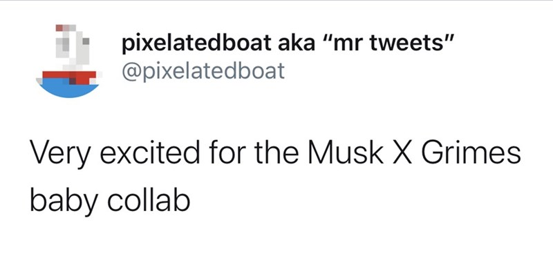 "Text - pixelatedboat aka ""mr tweets"" @pixelatedboat Very excited for the Musk X Grimes baby collab"