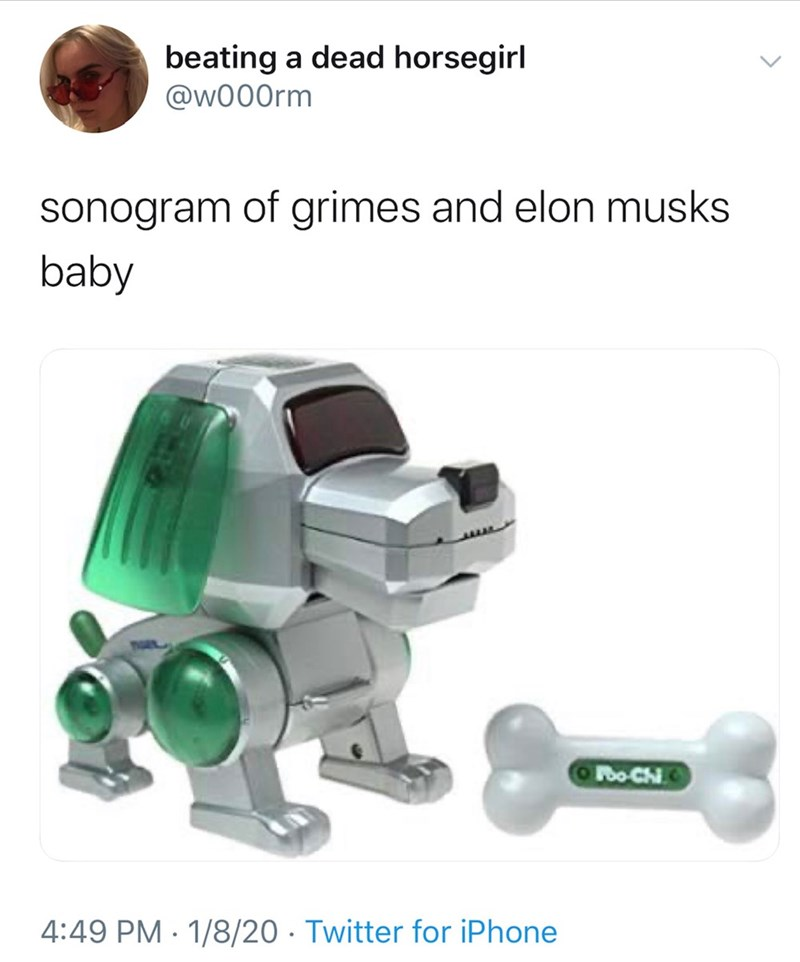 Toy - beating a dead horsegirl @w000rm sonogram of grimes and elon musks baby Poo-Ch 4:49 PM · 1/8/20 · Twitter for iPhone