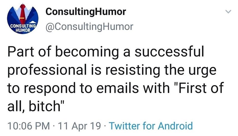 "Text - ConsultingHumor @ConsultingHumor CONSULTING HUMOR Part of becoming a successful professional is resisting the urge to respond to emails with ""First of all, bitch"" 10:06 PM · 11 Apr 19 · Twitter for Android"