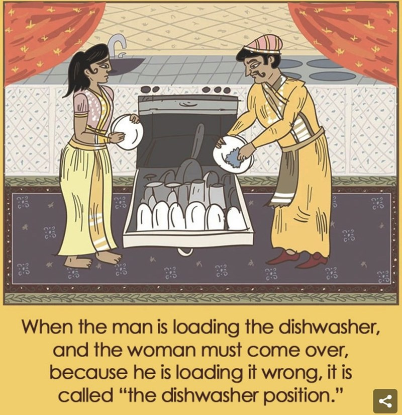 "Cartoon - When the man is loading the dishwasher, and the woman must come over, because he is loading it wrong, it is called ""the dishwasher position."""