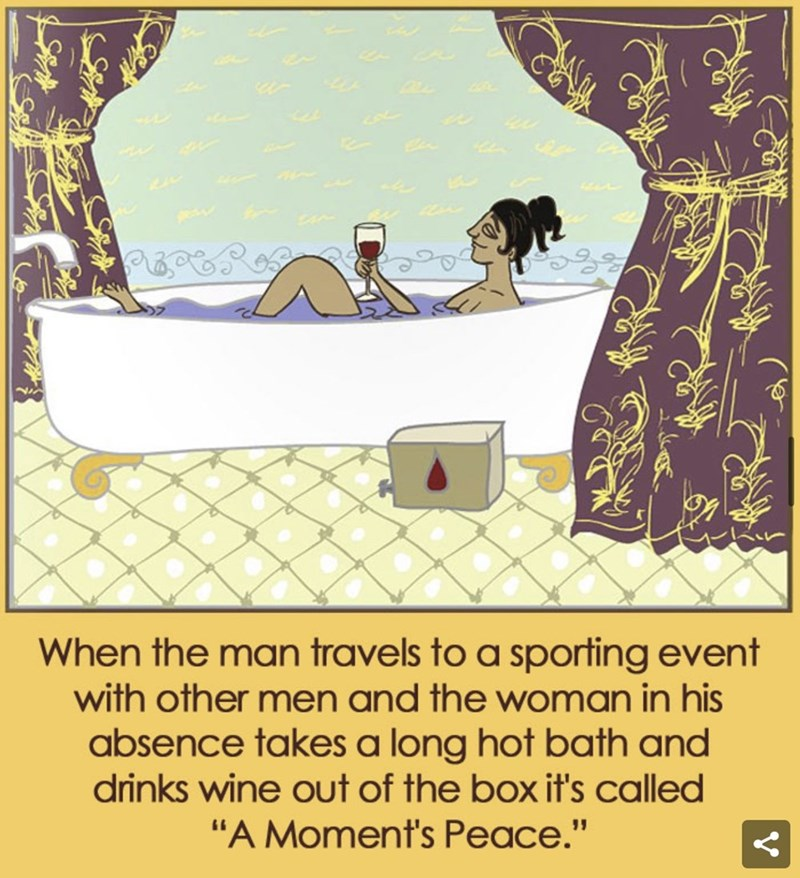 "Cartoon - When the man travels to a sporting event with other men and the woman in his absence takes a long hot bath and drinks wine out of the box it's called ""A Moment's Peace."""