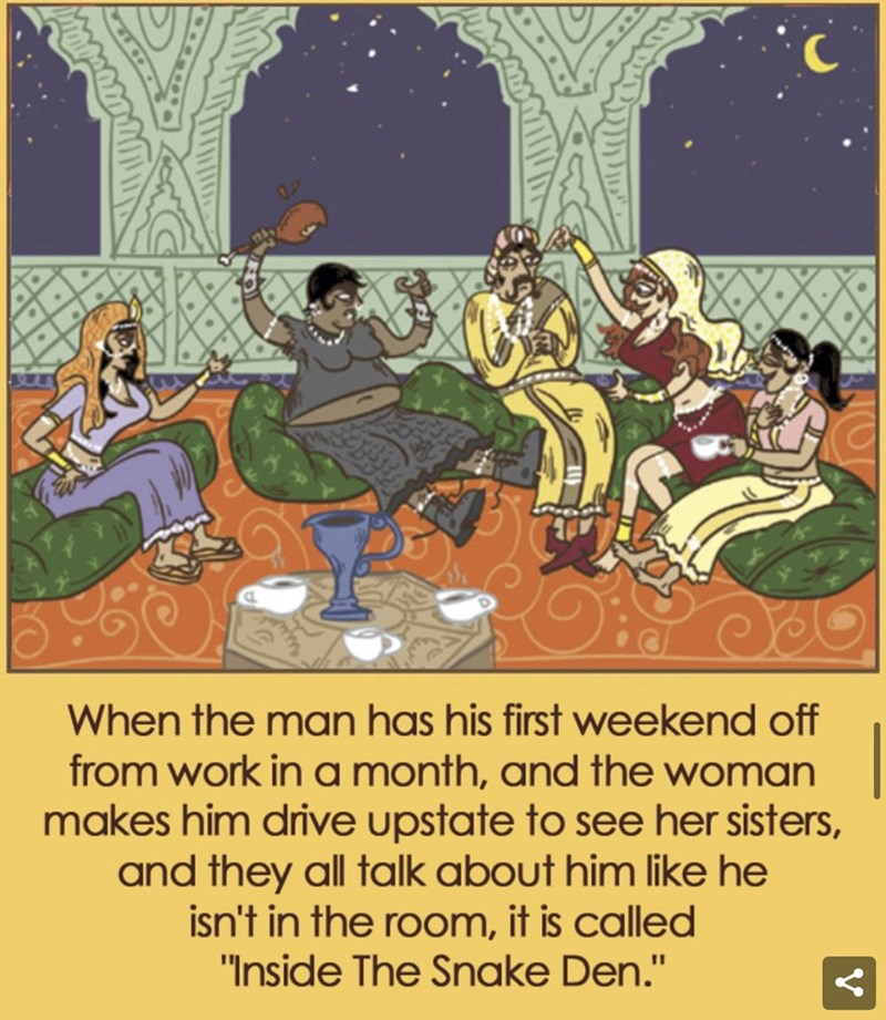 "Cartoon - When the man has his first weekend off from work in a month, and the woman makes him drive upstate to see her sisters, and they all talk about him like he isn't in the room, it is called ""Inside The Snake Den."""