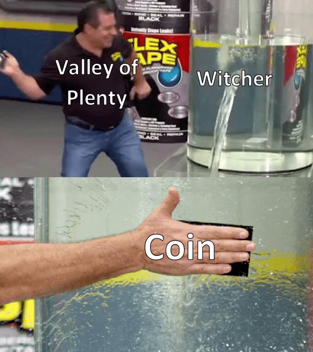Water - MAL BLACK AR LEX APE Valley of Witcher Plenty LACK Coin