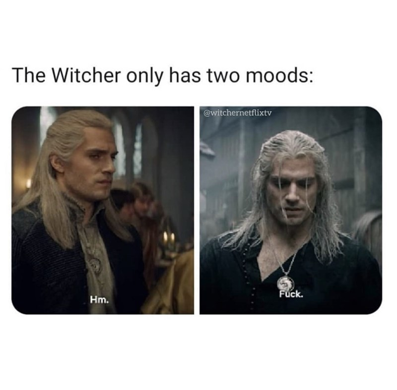 Text - The Witcher only has two moods: @witchernetflixtv Fuck. Hm.
