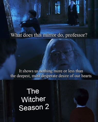 Text - What does this mirror do, professor? It shows us nothing more or less than the deepest, most desperate desire of our hearts The Witcher Season 2