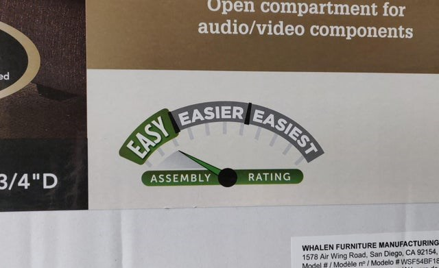 "Text - Open compartment for audio/video components ed EASIER EASIES EASIER EASY 3/4""D ASSEMBLY RATING WHALEN FURNITURE MANUFACTURING 1578 Air Wing Road, San Diego, CA 92154, Model #/ Modèle n° / Modelo #WSF54BF18"