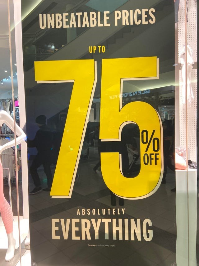 Yellow - UNBEATABLE PRICES UP TO 75 OFF ABSOLUTELY EVERYTHING Some exclusions may apply