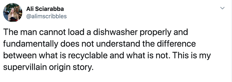 Text - Ali Sciarabba @alimscribbles The man cannot load a dishwasher properly and fundamentally does not understand the difference between what is recyclable and what is not. This is my supervillain origin story.