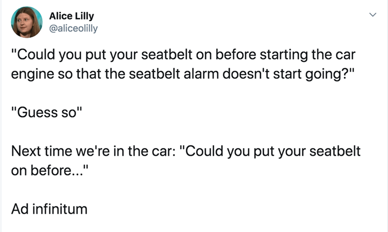 "Text - Alice Lilly @aliceolilly ""Could you put your seatbelt on before starting the car engine so that the seatbelt alarm doesn't start going?"" ""Guess so"" Next time we're in the car: ""Could you put your seatbelt on before..."" Ad infinitum"