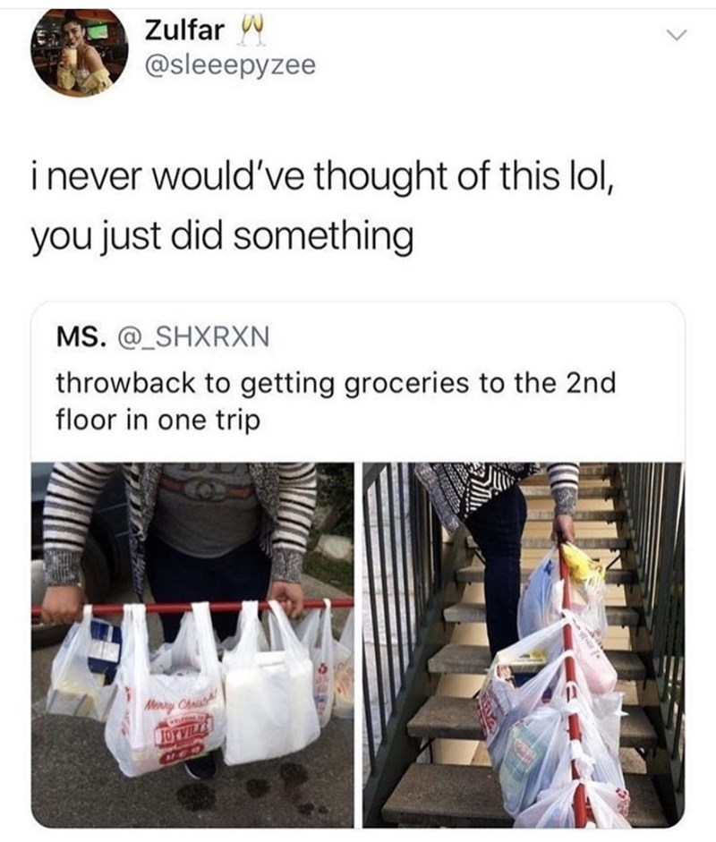 Product - Zulfar @sleeepyzee i never would've thought of this lol, you just did something MS. @_SHXRXN throwback to getting groceries to the 2nd floor in one trip Menry Chnist TOYVILL