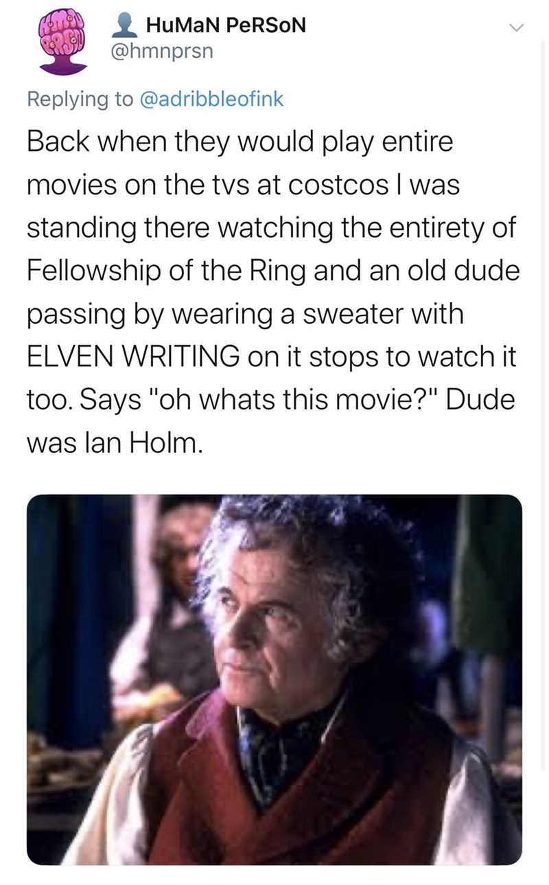 """Text - HuMaN PERSON @hmnprsn Replying to @adribbleofink Back when they would play entire movies on the tvs at costcos I was standing there watching the entirety of Fellowship of the Ring and an old dude passing by wearing a sweater with ELVEN WRITING on it stops to watch it too. Says """"oh whats this movie?"""" Dude was lan Holm."""
